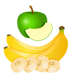 Two yellow bananas and chopped banana slices and vector