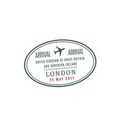 uk arrival stamp with data sign vector image