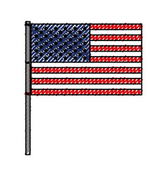 United states flag with pole in colored crayon vector