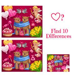 Valentine day child find ten differences game vector