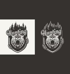 vintage bear hunting print vector image