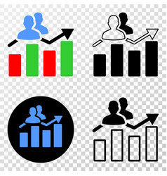 Visitors bar chart eps icon with contour vector