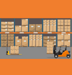 Warehouse interior with goods pallet trucks and vector