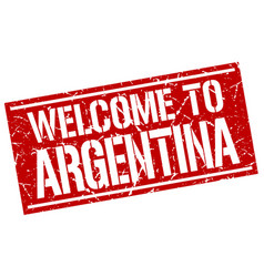 welcome to argentina stamp vector image