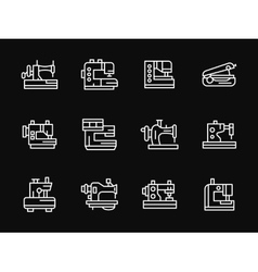 White simple line sewing machine icons vector image