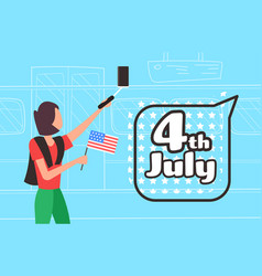 woman with usa flag taking selfie photo vector image