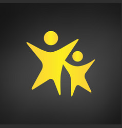 yellow modern children and adults logo happy kids vector image