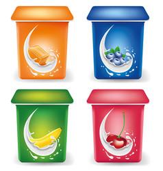 yogurt packaging design template with caramel vector image