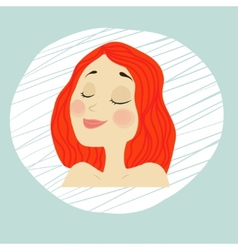 Young girl face with makeup red hair vector