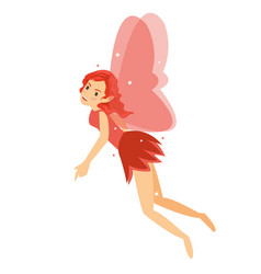 young pretty angelic fairy girl flying in her red vector image