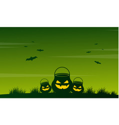 Night landscape on halloween collection vector
