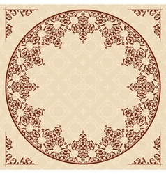 round arabic ornament on light beige pattern vector image vector image