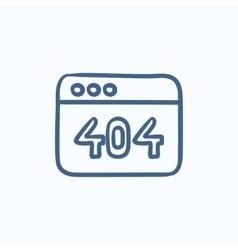 Browser window with 404 error sketch icon vector image vector image