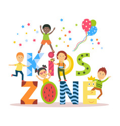 flat cartoon kid zone banner poster design vector image vector image