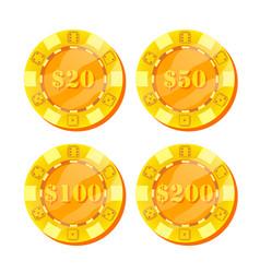 poker chips flat cartoon set 20 50 100 vector image