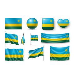 set rwanda flags banners banners symbols vector image