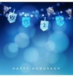 anukkah blue background with string of light and vector image