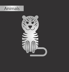 black and white style icon tiger vector image vector image
