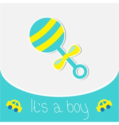 Blue rattle Baby boy shower card vector image