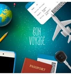 Bon voyage planning vacation trip vector image