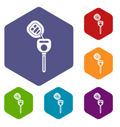 car key with remote control icons set vector image