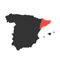 catalonia region in a map of spain vector image vector image