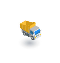 dump truck isometric flat icon 3d vector image
