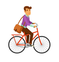 man in modern clothes with big leather bag rides vector image vector image