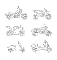 motorcycle and scooter line icons set vector image vector image