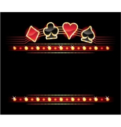 neon with card symbols vector image