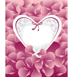 Post card or frames with heart pastel pink peta vector image