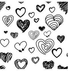 seamless pattern various heart design vector image vector image