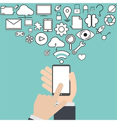 Smart phone and cloud technology with social vector image vector image