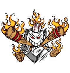 Softball Baseball Plate and Bats Flaming Cartoon vector image