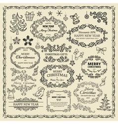 vintage Christmas design elements vector image vector image