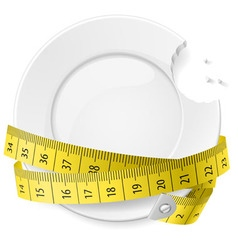 crossed spoon and fork plate Diet metr 05 vector image vector image