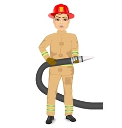 happy fireman holding hose vector image