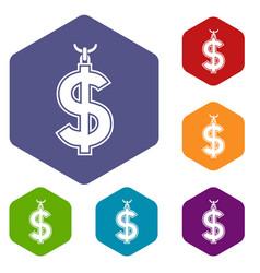 Necklace of dollar symbol icons set hexagon vector