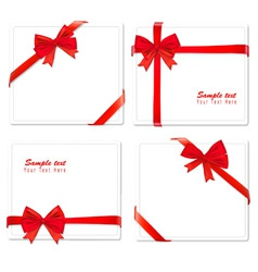 set of four red bows ribbons vector image vector image