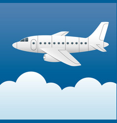 white plane on a background of blue sky and white vector image