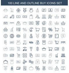100 buy icons vector