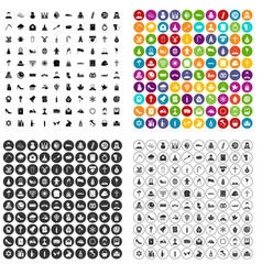 100 church icons set variant vector image