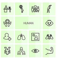 14 human icons vector