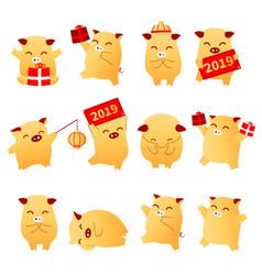 2019 pig year flat cartoon characters traditional vector image