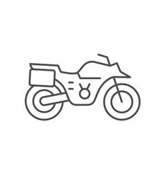 Adventure motorcycle line outline icon vector