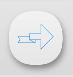Arrow with folding line app icon right turning vector