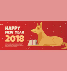 banner template with a golden dog symbol of 2018 vector image