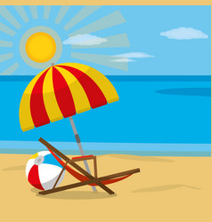 Beach and sunchair design vector