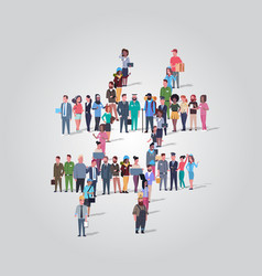 Big people crowd gathering in shape number sign vector