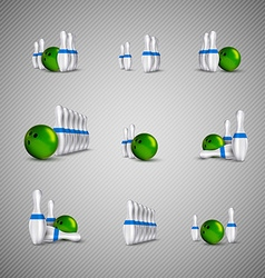 Bowling skittles and bowls as design elements vector image